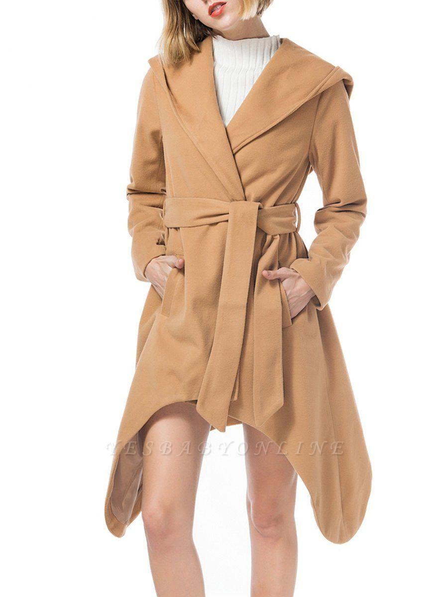 Long Sleeve Hoodie Asymmetrical Solid Casual Coat