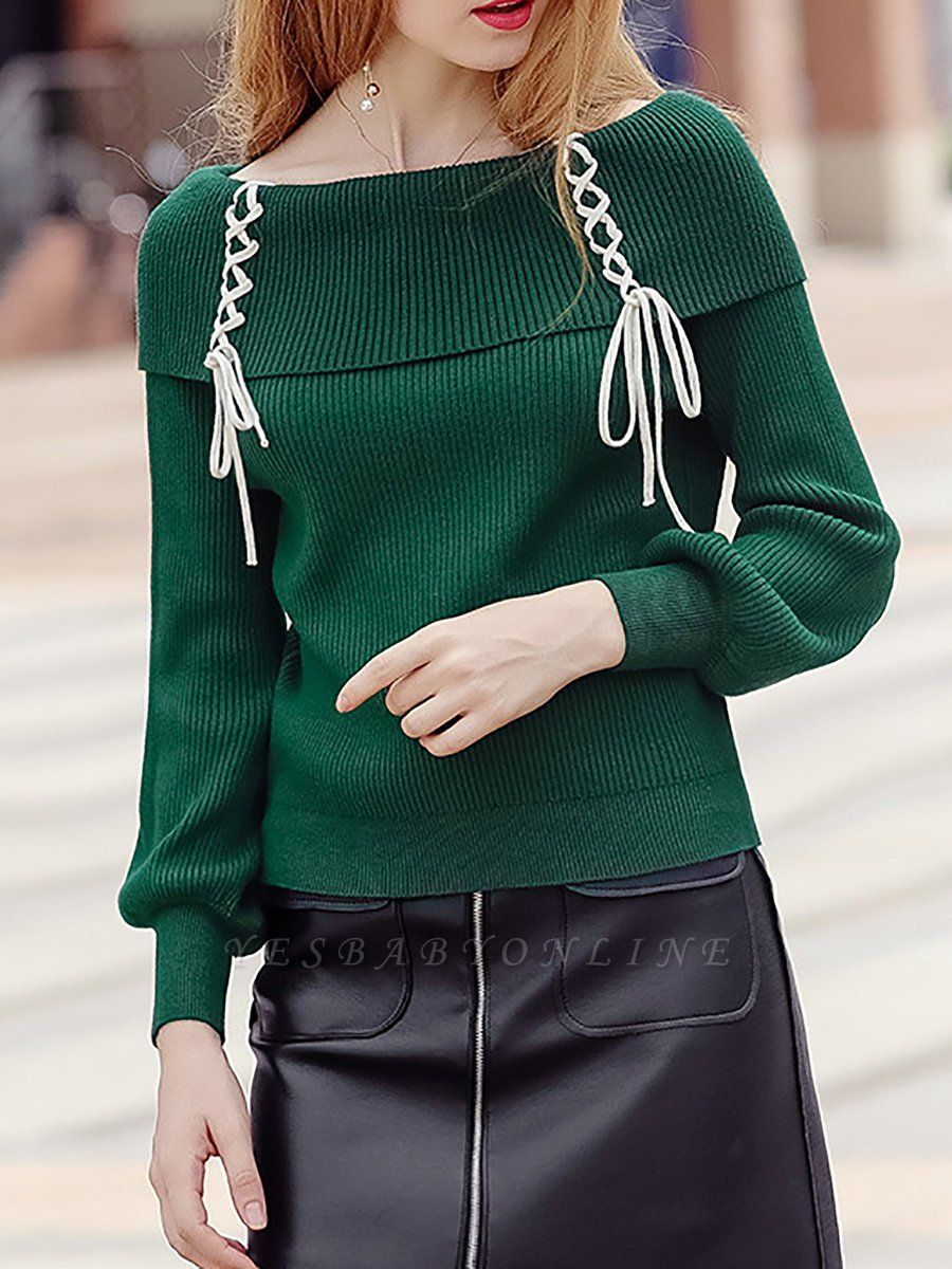 Solid Long Sleeve Casual Shift Sweater