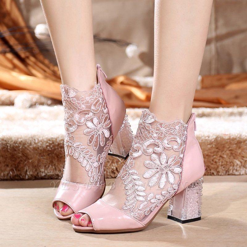 Romantic  Mesh Chunky Heels