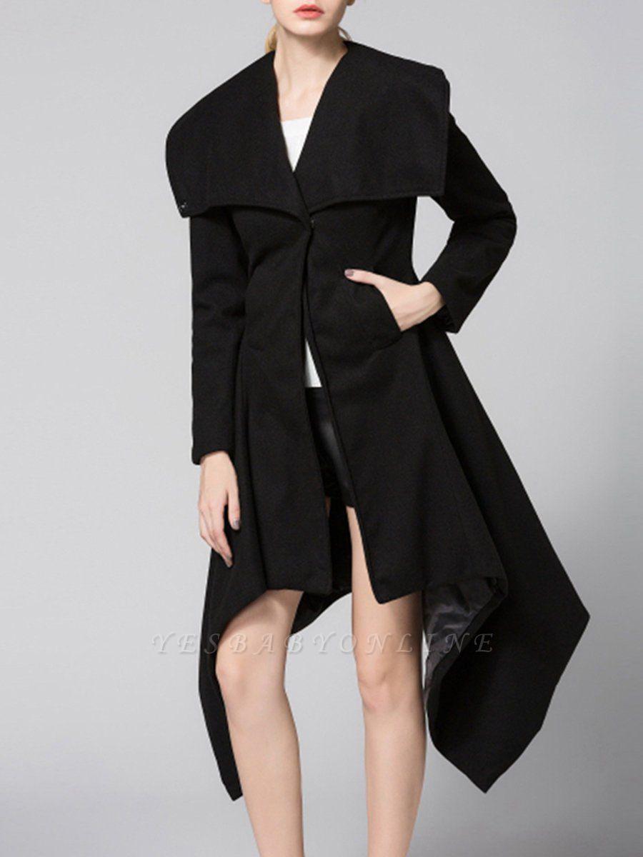 Black Long Sleeve Wool blend Work Asymmetrical Coat