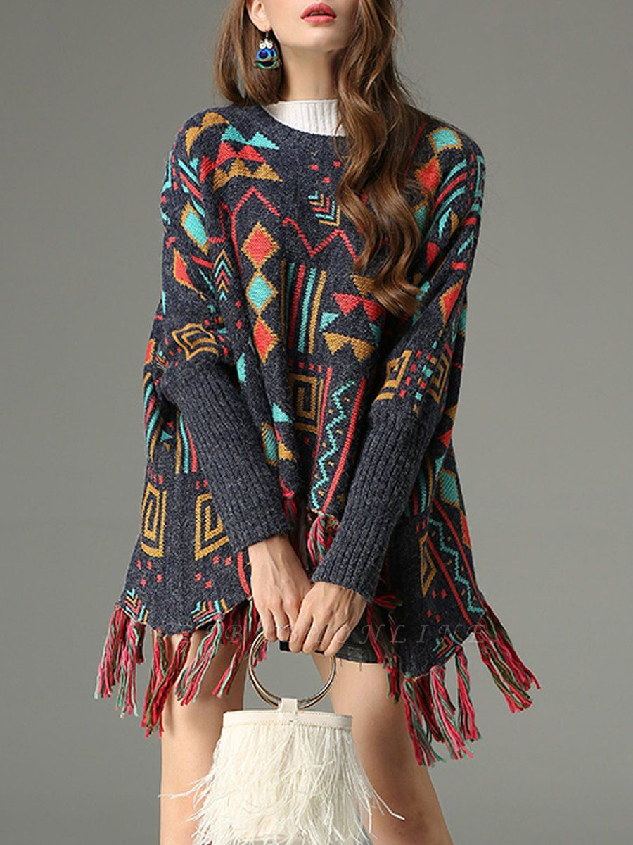 Multicolor Geometric Long Sleeve Casual Fringed Sweater