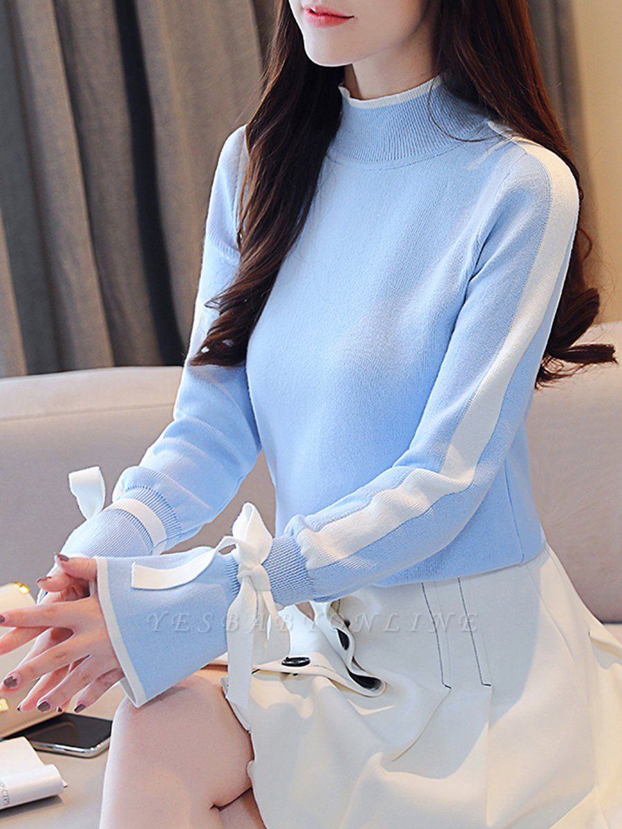 Turtleneck Casual Balloon Sleeve Paneled Sweater