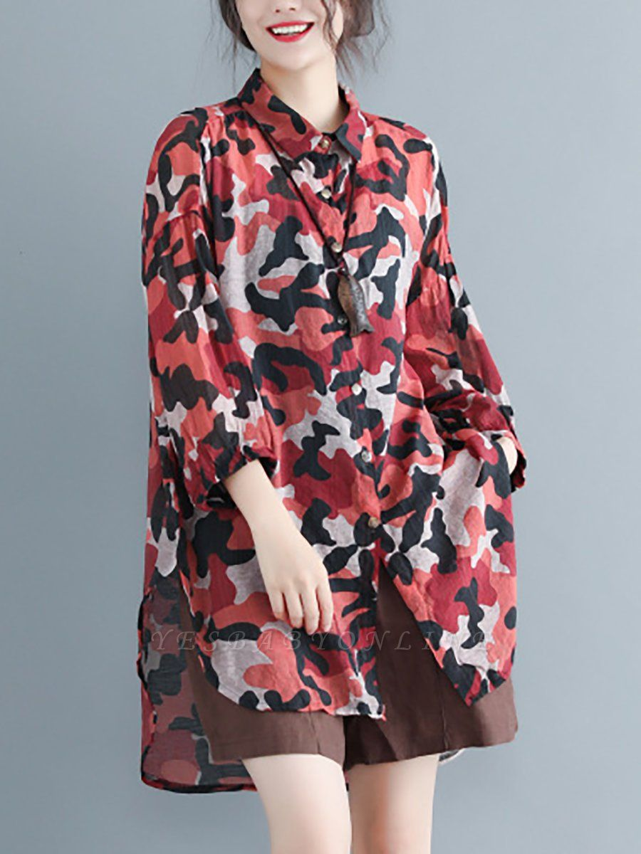 Camouflage Casual Long Sleeve Abstract Shift Printed Coat
