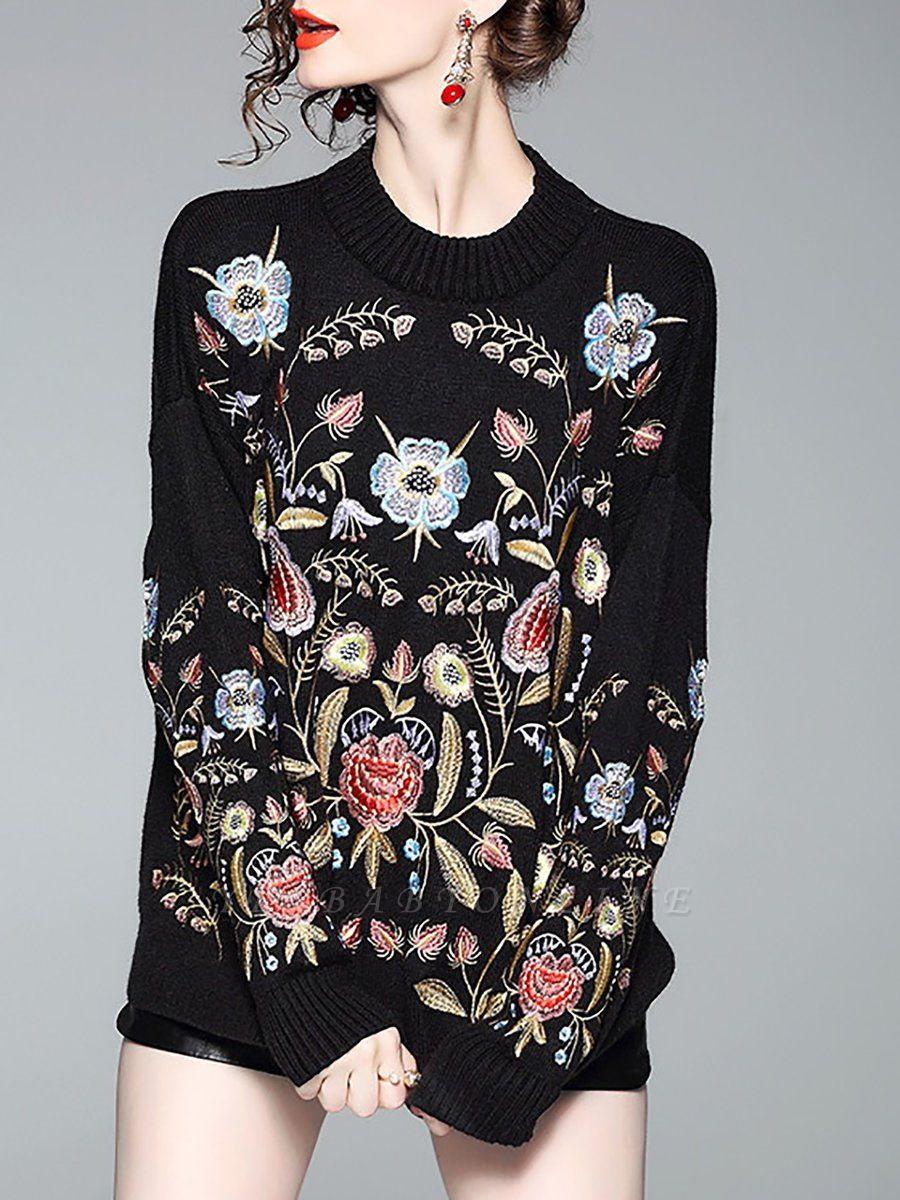 Black Shift Embroidered Crew Neck Long Sleeve Sweater