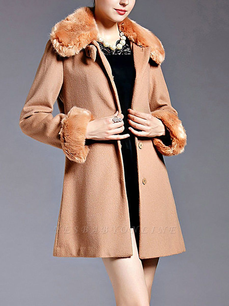 Coffee Bow Lapel Fluffy Buttoned  Paneled Coat