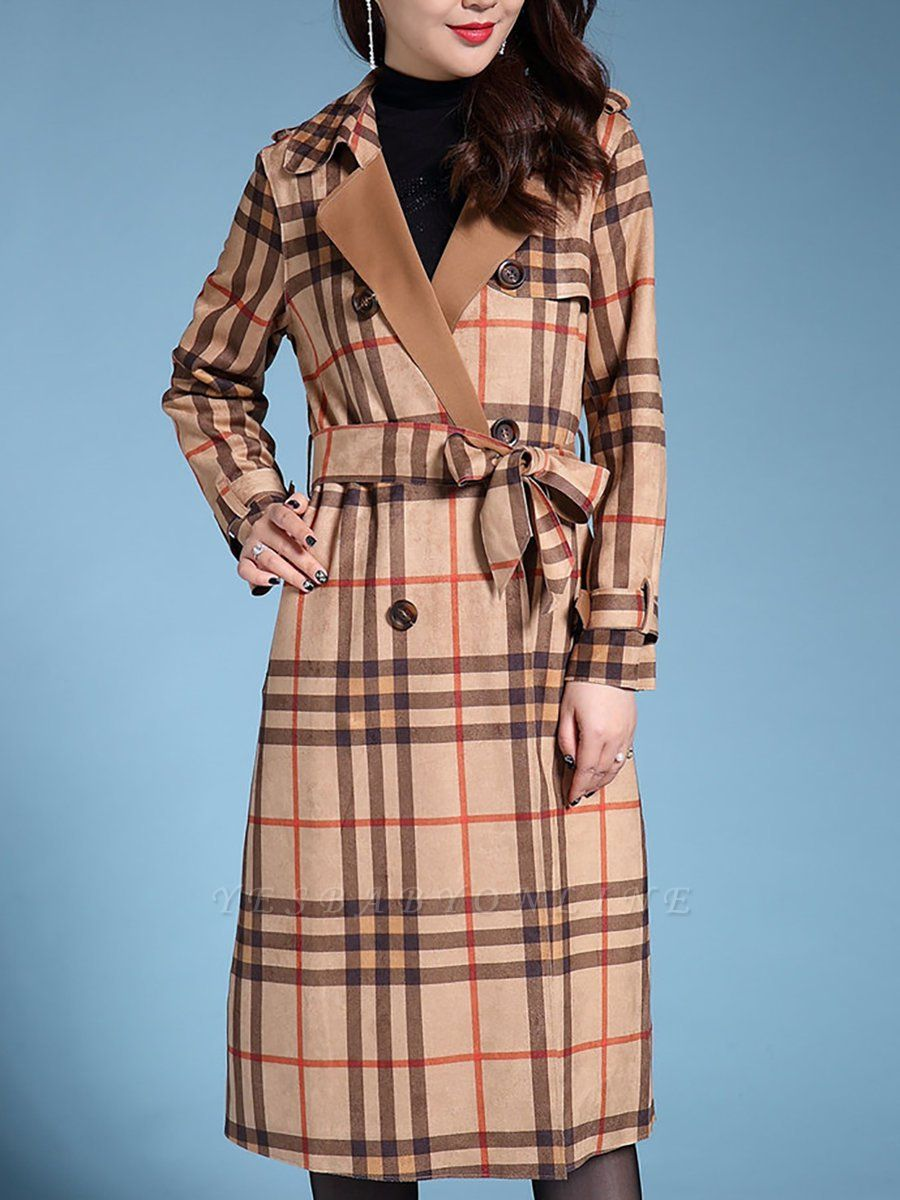 Apricot Shift Casual Long Sleeve Coat