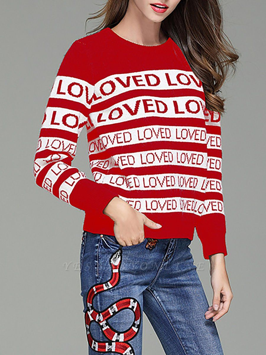 Casual Long Sleeve Letter Sweater