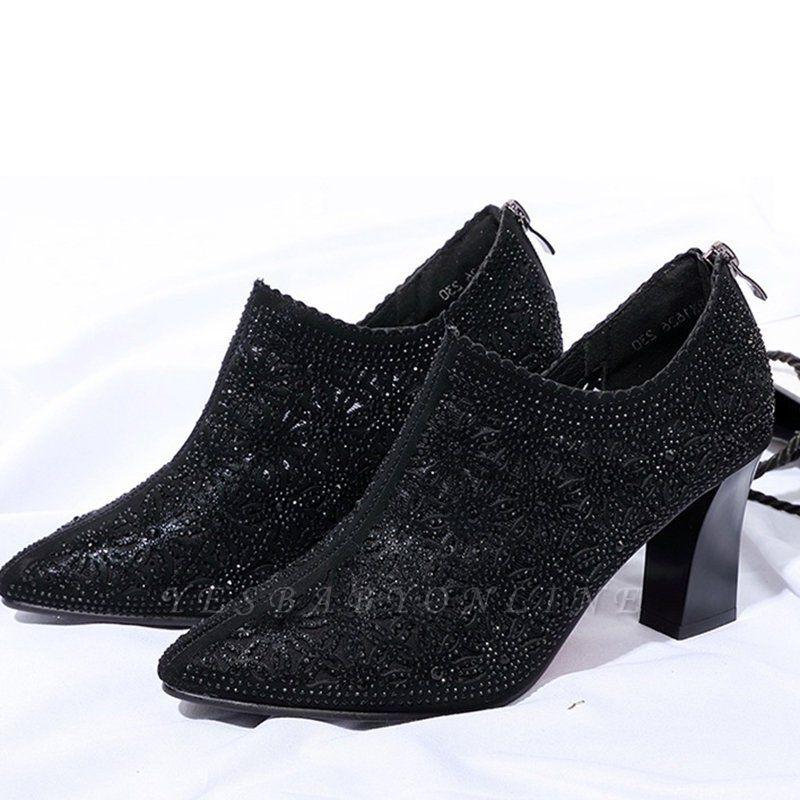 Black Zipper Pointed Toe Chunky Heel Boots