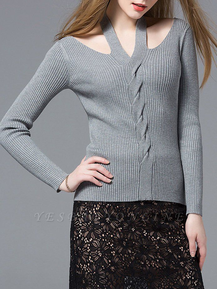 Gray Knitted Halter Simple Sweater