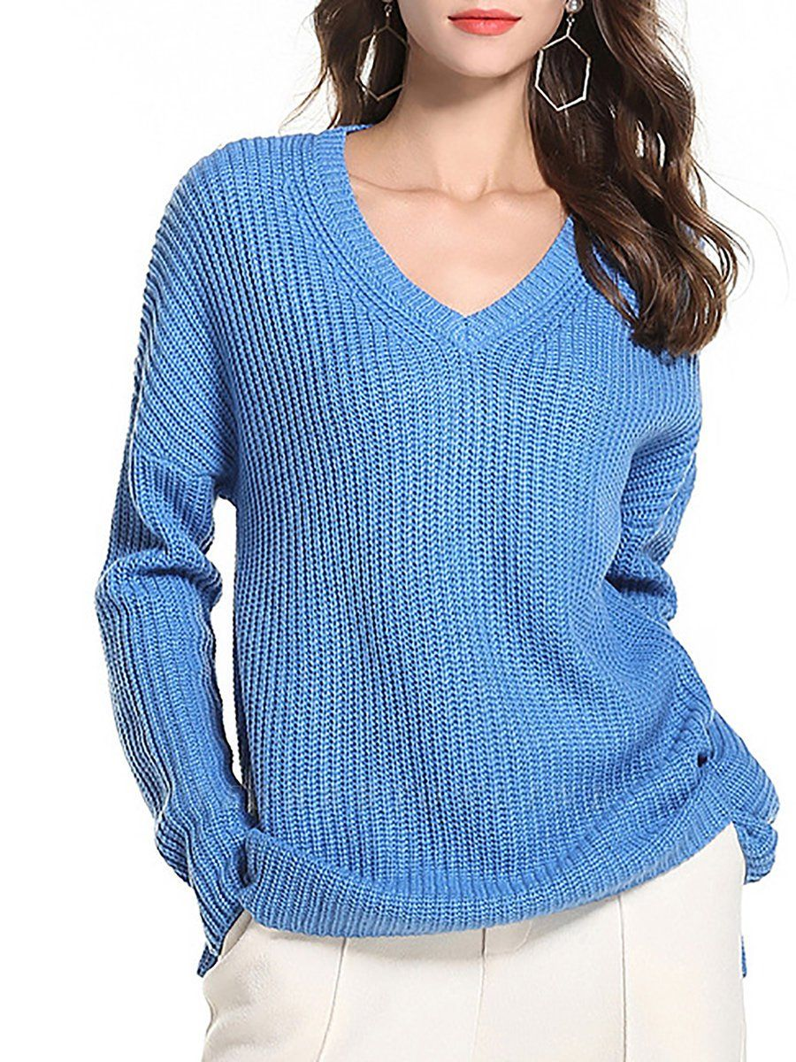 Casual Long Sleeve Knitted V neck Sweater