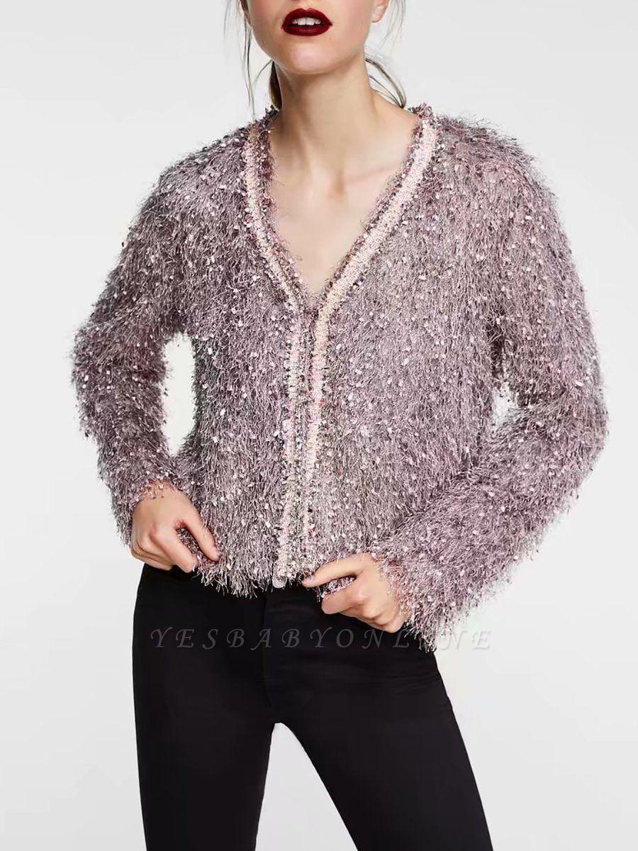 Pink Solid V-Neck Paneled Casual Fringed Shift Coat