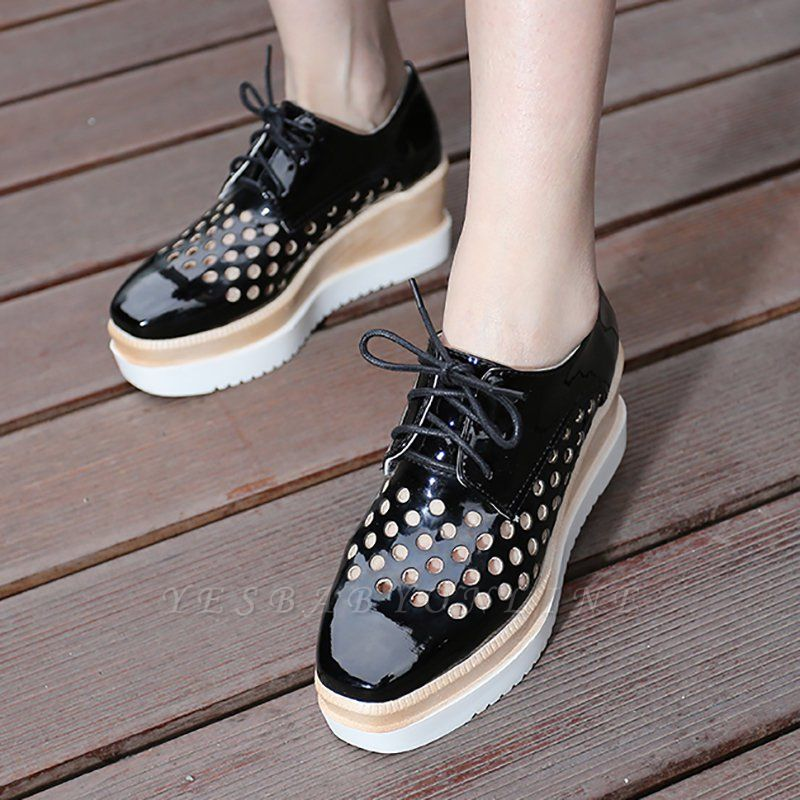 Hollow-out Lace-up Wedge Creepers