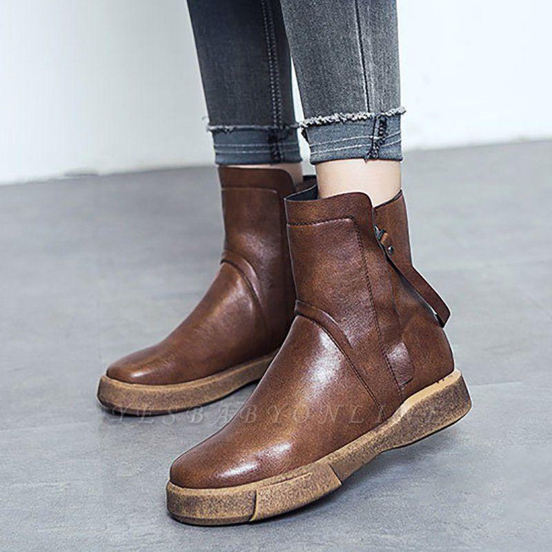 Zipper Daily Round Toe Flat Heel Boots