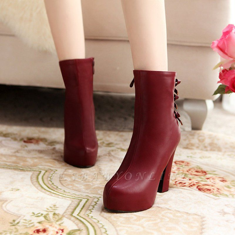 Daily Chunky Heel Zipper Tie Round Toe Elegant Boots