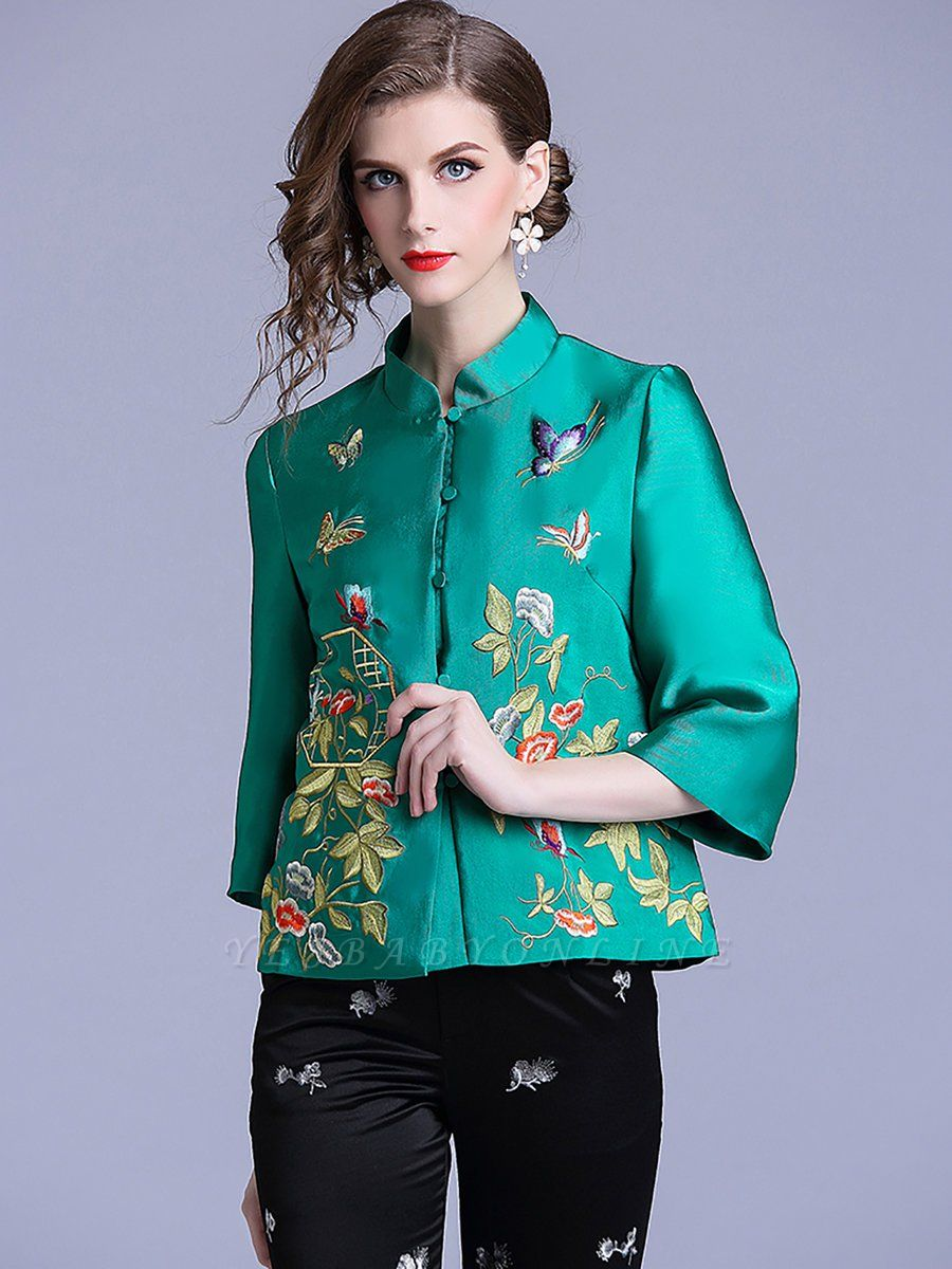 Vintage Buttoned Embroidered 3/4 Sleeve Coat