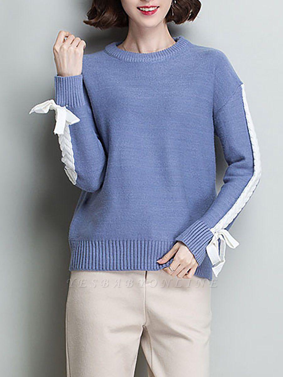 Casual Shift Long Sleeve Paneled Sweater