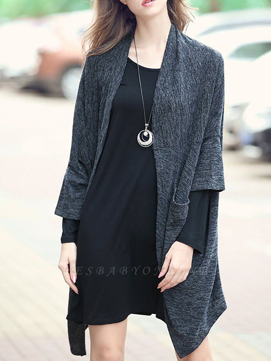 Casual Shift Batwing Pockets Coat