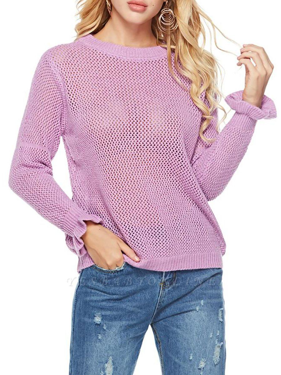 Pink Shift Frill Sleeve Casual Crew Neck Solid Sweater