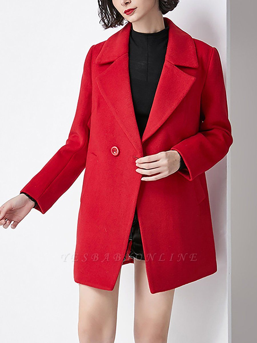 Work Buttoned Lapel Long Sleeve Pockets Coat