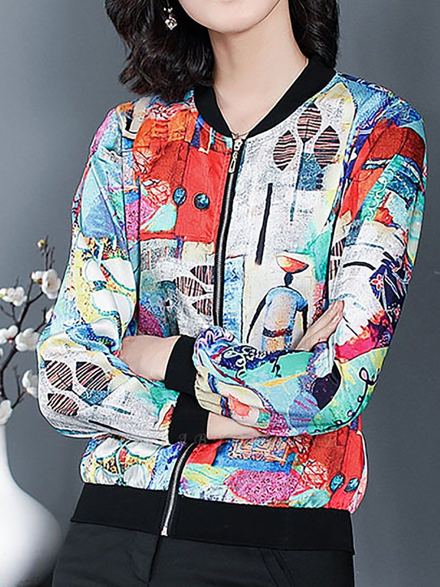 White Long Sleeve Casual Printed Abstract Crew Neck Coat