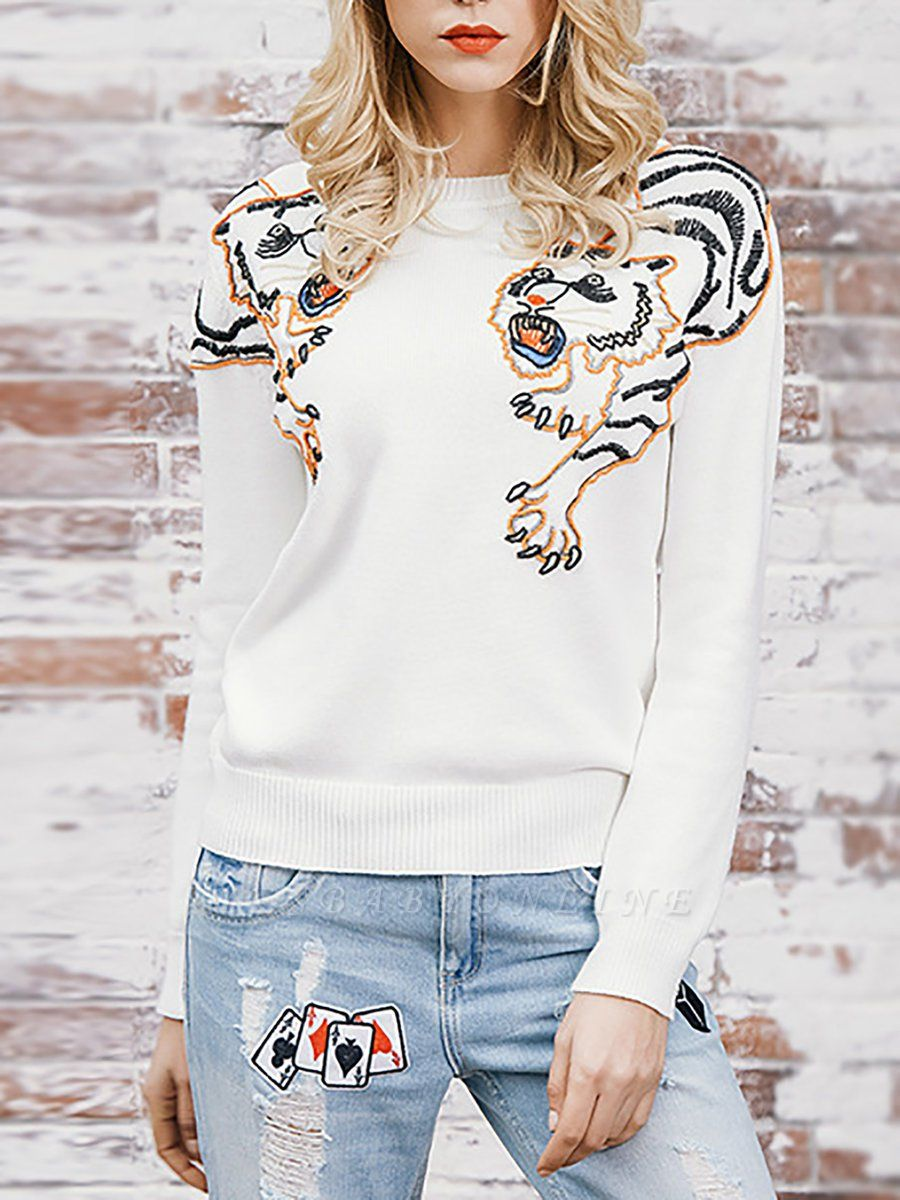 Long Sleeve Embroidered Crew Neck Casual Sweater