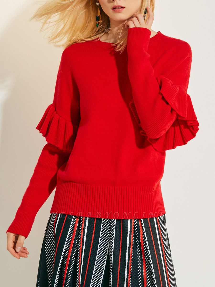 Red Casual Paneled Solid Crew Neck Sweater