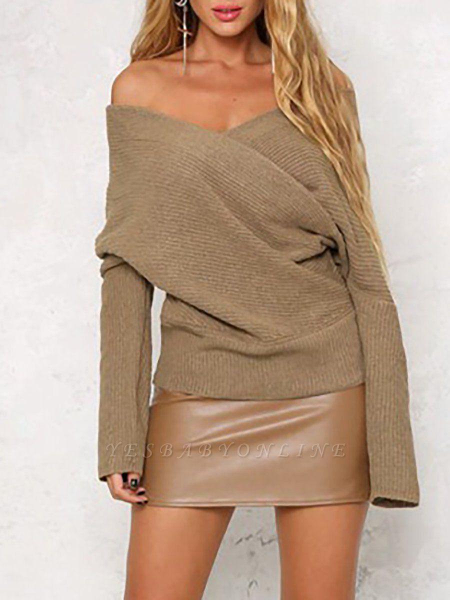 V neck Midi Dress Shift Dress Long Sleeve Casual Solid Dress