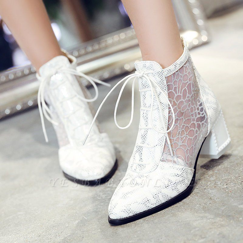 Zipper Chunky Heel Mesh Fabric Pointed Toe Boots