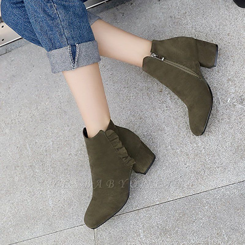 Chunky Heel Zipper Elegant Round Toe Boots