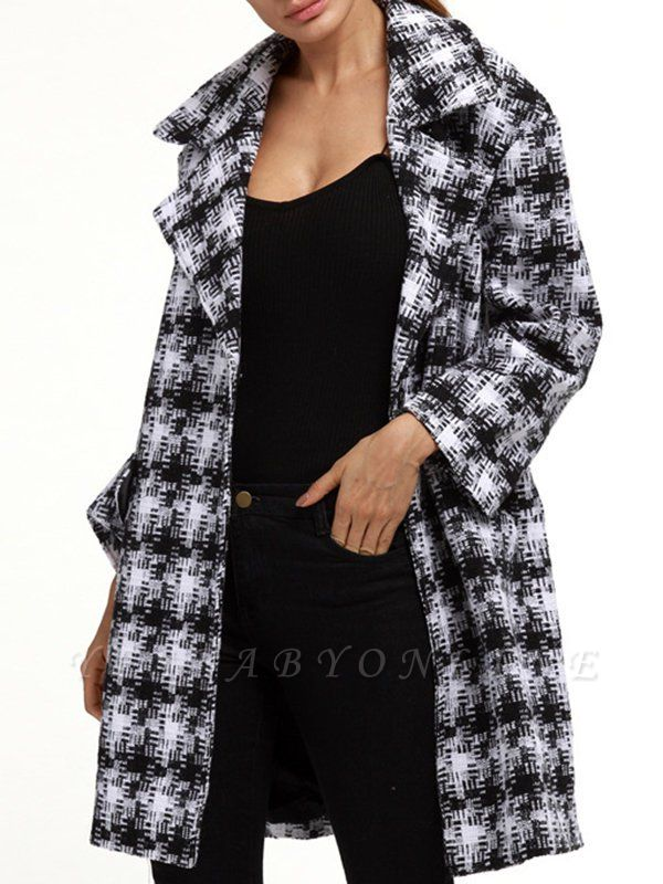 Black-white Houndstooth H-line Casual Coat