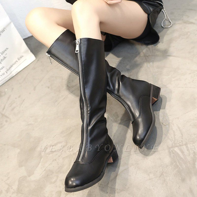 Fashion Zipper Chunky Heel Boot