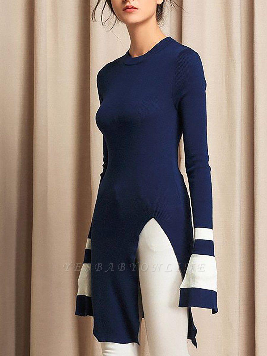 Casual Crew Neck Wool Sheath Long Sleeve Sweater