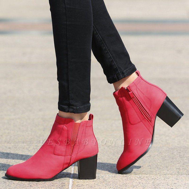 Chunky Heel PU Zipper Boots