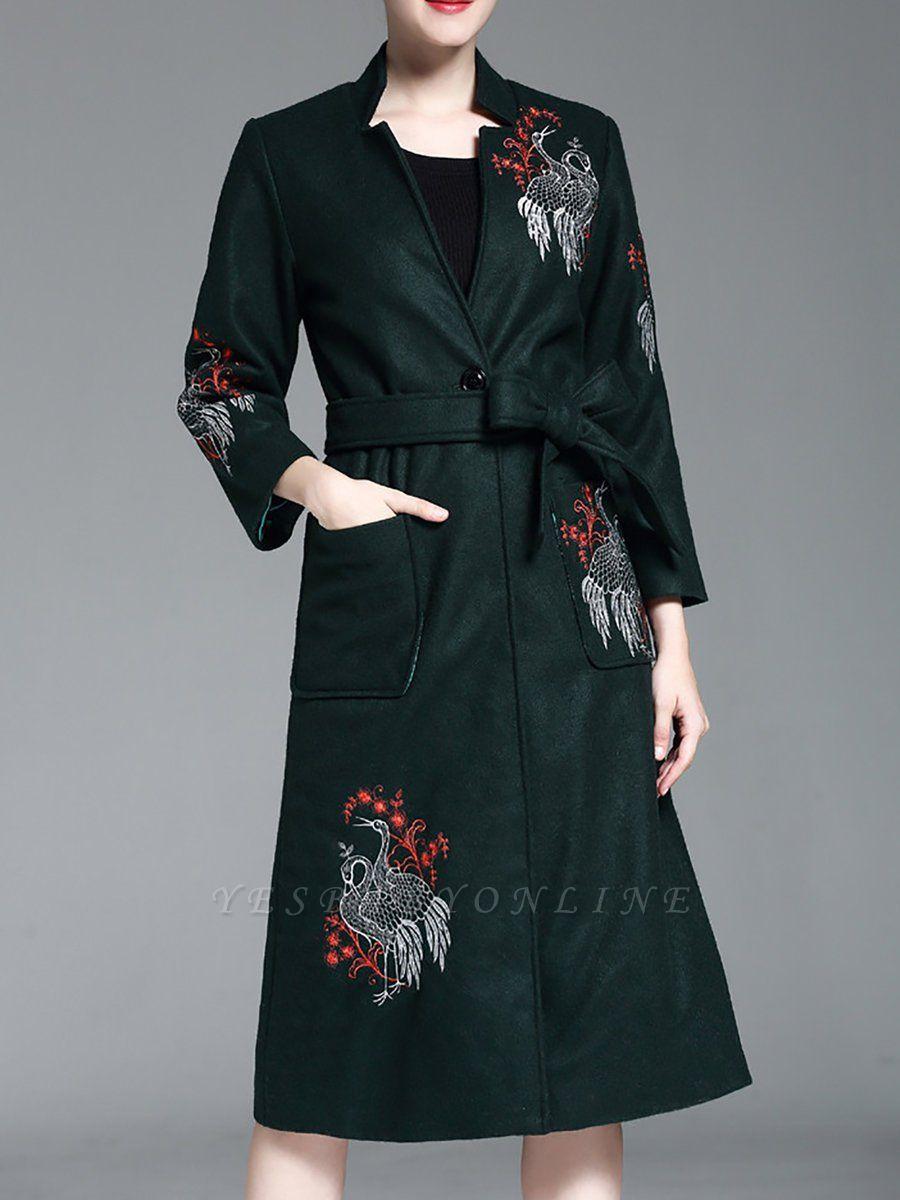 Dark Green Animal V neck Long Sleeve Coat
