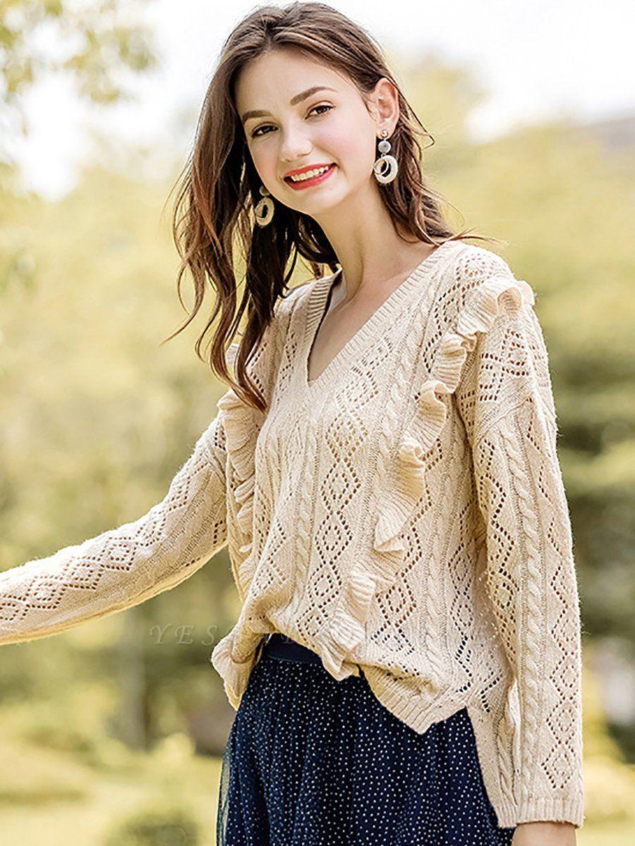 Apricot V neck Long Sleeve Geometric Cutout Sweater