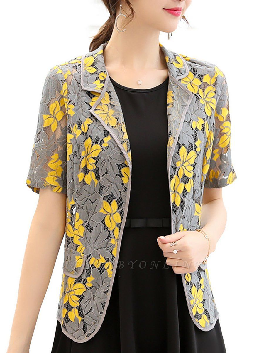 Yellow Short Sleeve Floral Guipure lace Coat