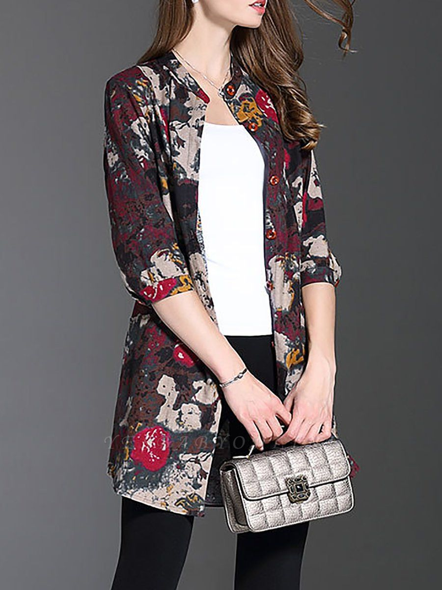 Long Sleeve Casual Stand Collar Shift Floral Coat