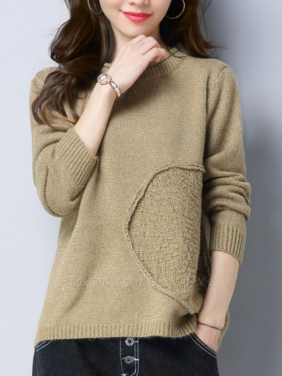 Long Sleeve Knitted Plain Casual Crew Neck Sweater