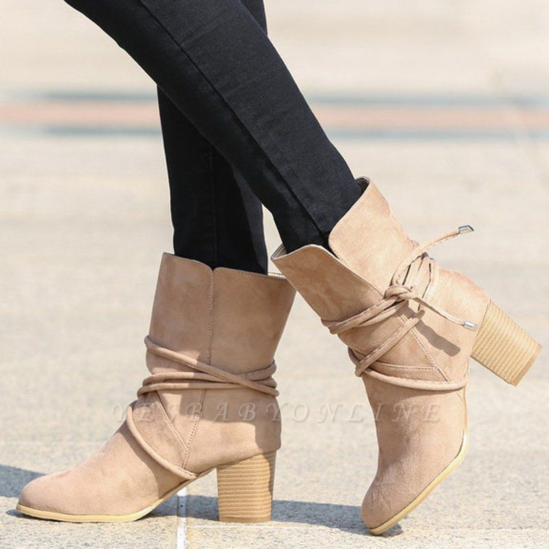 Women's Boots Lace-Up Chunky Heel Round Toe Elegant Apricot Boots