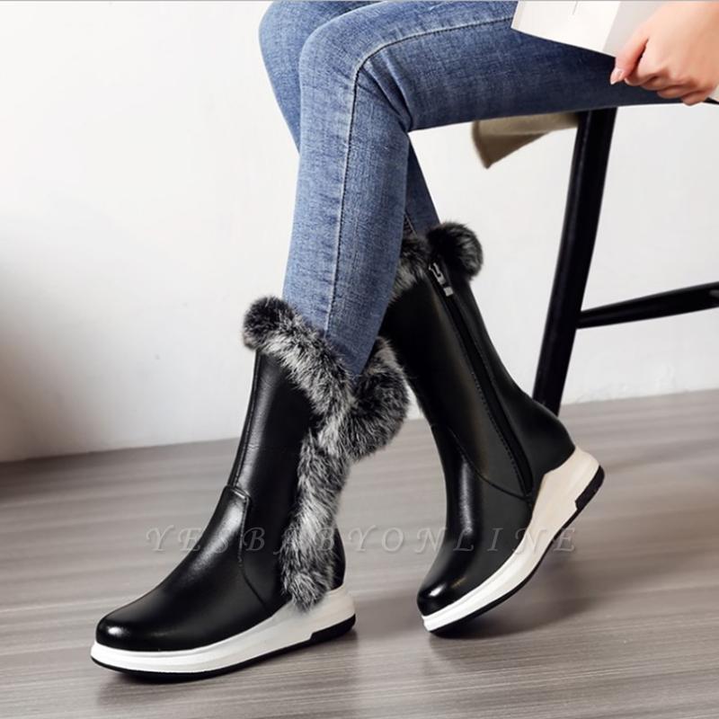 Wedge Heel Daily Zipper Round Toe Boots
