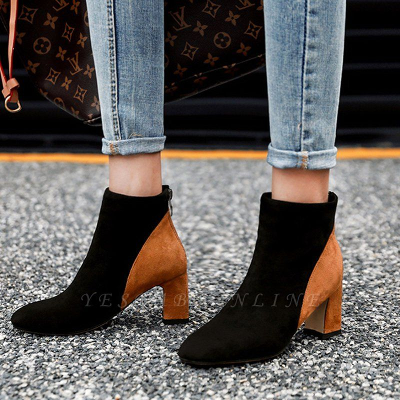 Women Daily Chunky Heel Suede Color Block Boots