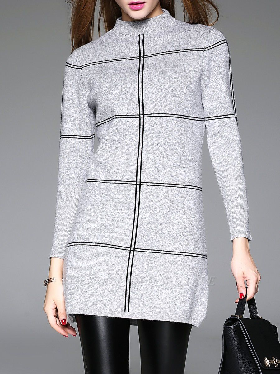 Long Sleeve Checkered/Plaid Knitted Casual Sweater