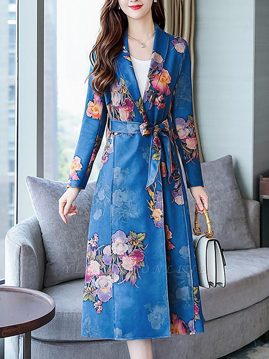 Floral Shawl Collar A-line Floral-print Pockets Long Sleeve Coat