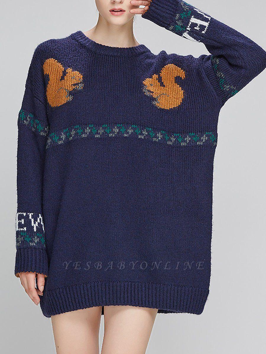 Dark blue Crew Neck Long Sleeve Casual Sweater