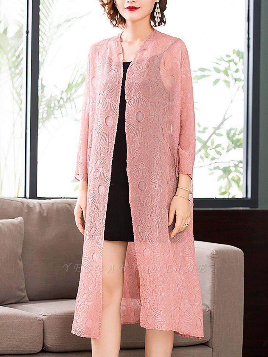 Pink Crew Neck Solid Shift Crinkled Coat
