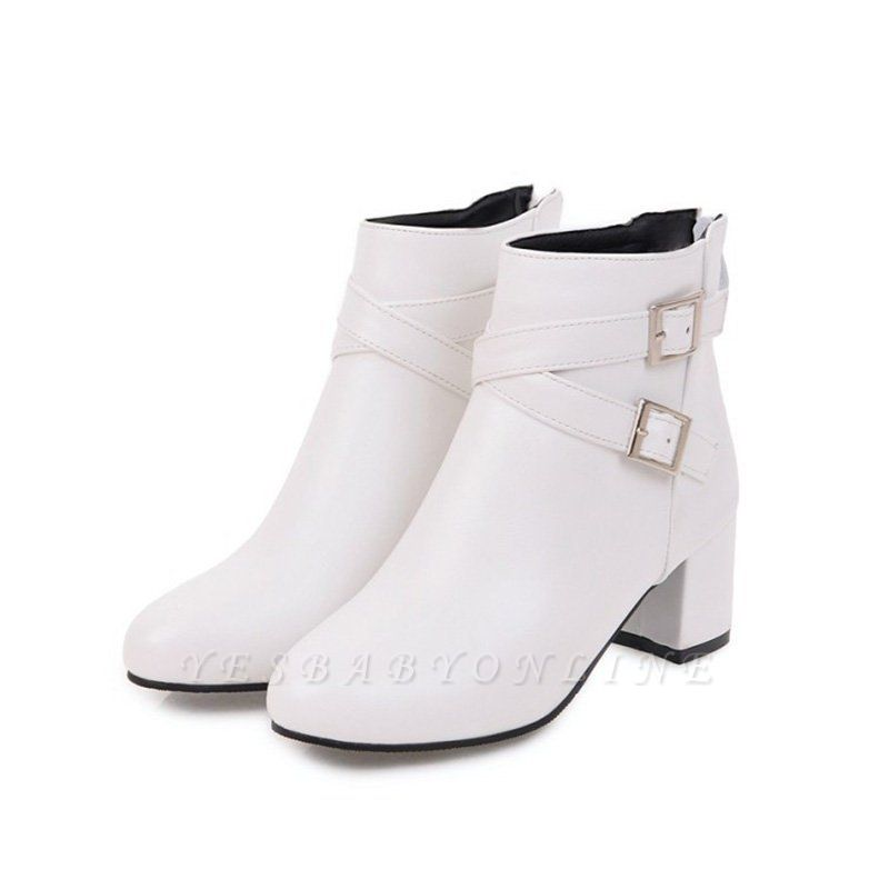 Daily Chunky Heel Buckle Pointed Toe Boots