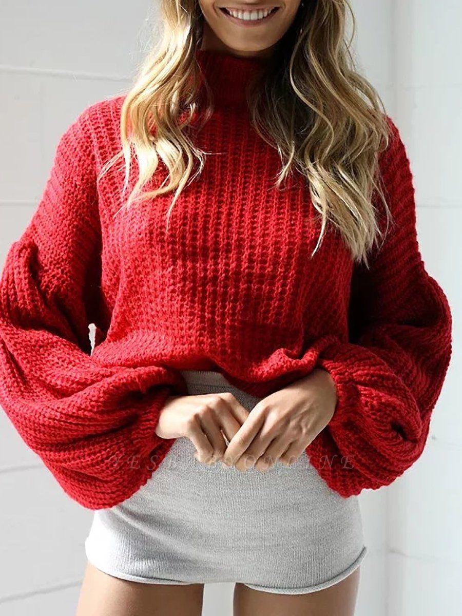 Plain Casual Balloon Sleeve Sweater