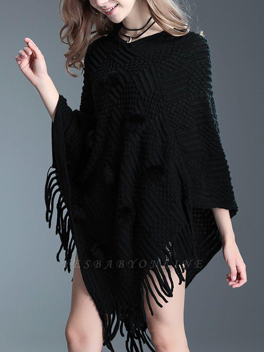 Animal Batwing Casual Bateau/boat neck Fringed Sweater