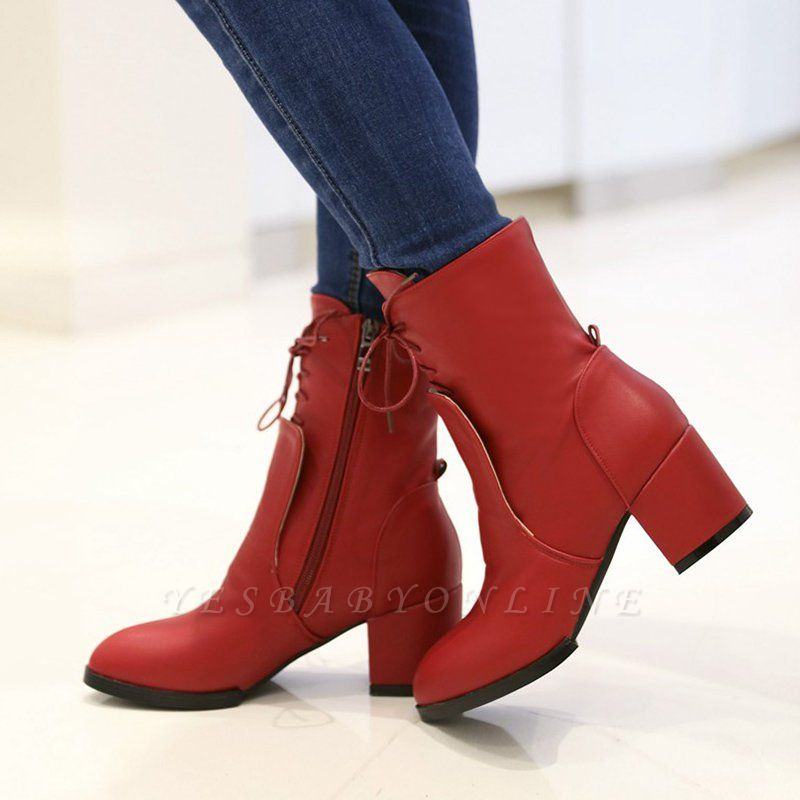 Chunky Heel Lace-up Working Pointed Toe Suede Boots