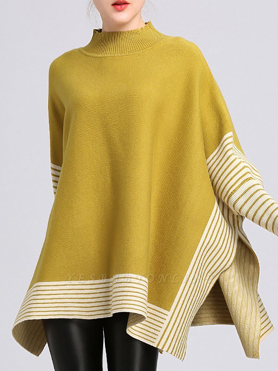 Batwing Shift Casual Printed Sweater